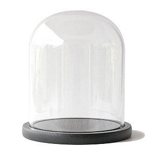 Redoma de vidro 15X18cm com base de madeira preta