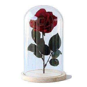 Redoma de vidro com base de madeira 15X26cm com rosa
