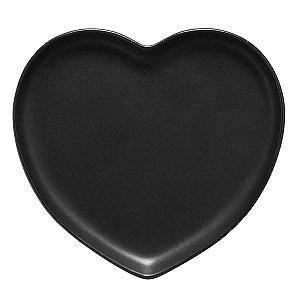Travessa coração Preto fosco G (27,5x25cm)