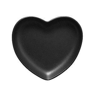 Travessa coração Preto Fosco M (18x16cm)