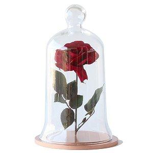 Redoma de vidro com rosa - base de MDF cobre
