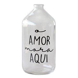 Vaso garrafa de vidro - O amor mora aqui