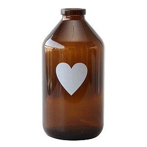 Vaso garrafa de vidro - Coração Ámbar