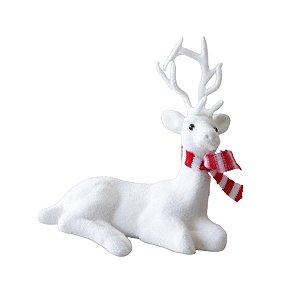 Rena de Natal branca deitada