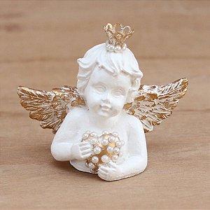 Anjo com coração - Asas douradas