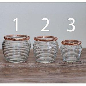 Vaso de vidro canelado com borda de cobre