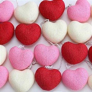 Cordão de Luz Cotton Coração Vermelho, Rosa e Branco