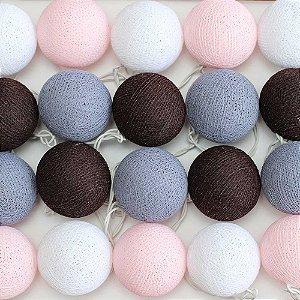 Cordão de Luz Cotton Marrom, Cinza, Rosa e Branco