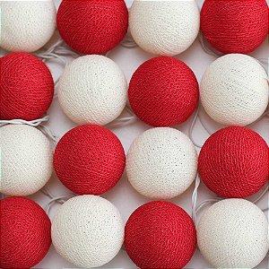 Cordão de Luz Cotton Vermelho e Branco Cru