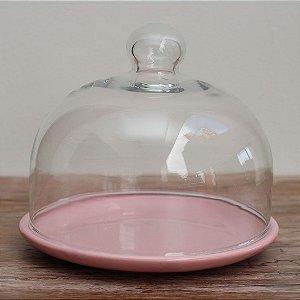 Redoma baixa com base de louça - rosa bebê