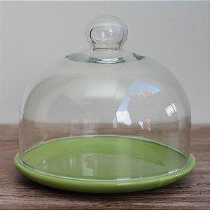Redoma baixa com base de louça - verde-natal