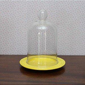 Redoma com base de louça  veneza - amarela