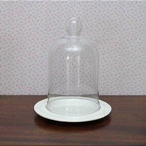 Redoma com base de louça  veneza - branca