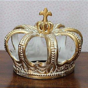 Coroa de Faiança Branca com Dourado