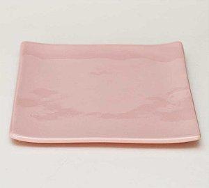 Prato oriental quadrado rosa candy