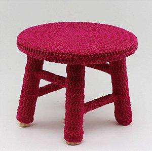 Banco de Crochê Pequeno - Pink