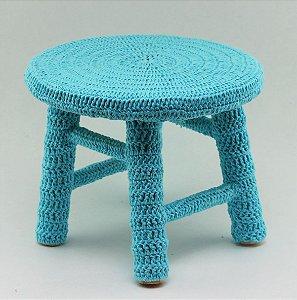 Banco de Crochê Pequeno - Azul