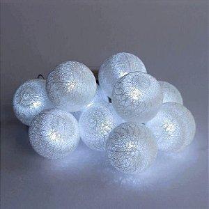 Cordão de luz mini bolinhas (a pilha) - Branco