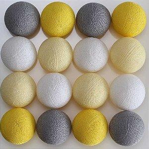 Cordão de luz LED cinza, amarelo e branco