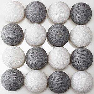 Cordão de luz LED cinza e branco