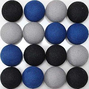 Cordão de luz LED preto, azul e cinza