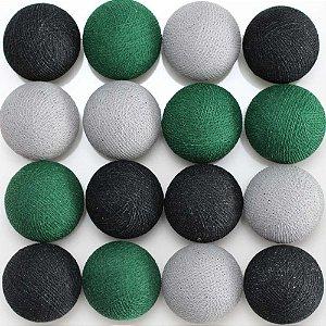 Cordão de luz LED preto, verde e cinza