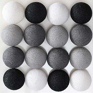Cordão de luz LED tons de cinza, preto e branco