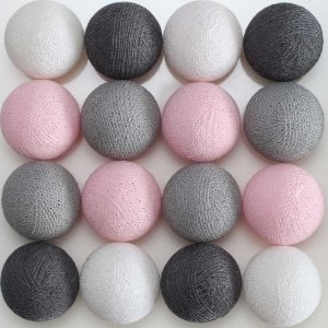 Cordão de luz LED tons de cinza, rosa e branco