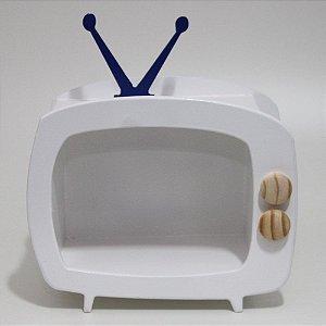 TV em Mdf - Branca com antena azul BIC