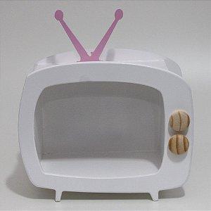 TV em Mdf - Branca com antena rosa