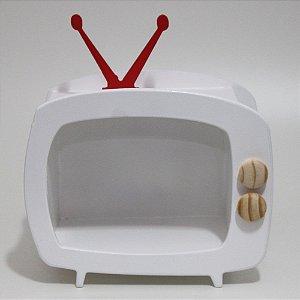 TV em Mdf - Branca com antena vermelha