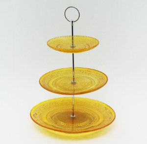 Suporte para doces de vidro - 3 andares amarelo