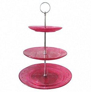 Suporte para doces de vidro - 3 andares rosa