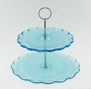 Suporte para doces de vidro - 2 andares azul