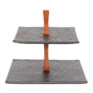 Suporte de cerâmica de 2 andares