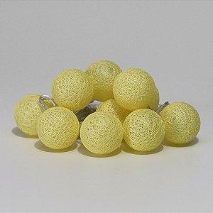 Cordão de luz mini bolinhas (a pilha) - Amarelo