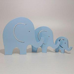 Trio de Elefantes - Azul
