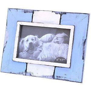 Porta-retrato Rústico em Madeira - Azul