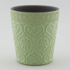 Vaso Textura Coração Verde