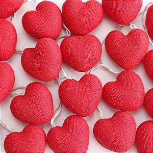 Cordão de Luz Cotton Coração - Vermelho (110V)