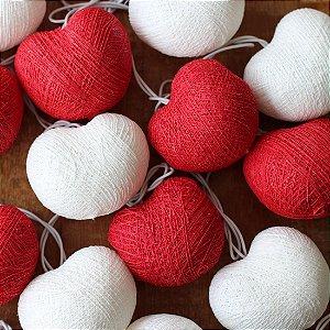 Cordão de Luz Cotton Coração - Vermelho e Branco (110V)