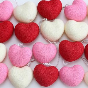 Cordão de Luz Cotton Coração - Vermelho, Rosa e Branco (220V)