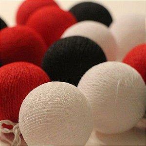 Cordão de Luz Cotton - Vermelho, Preto e Branco (220V)