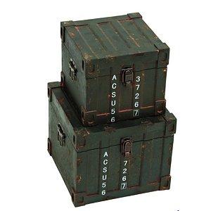 Conjunto de Baús Container em Madeira