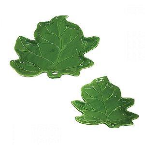 Conjunto de Pratos Folhas Verdes