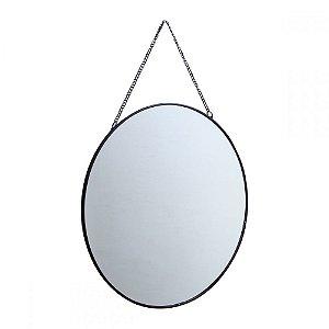 Espelho Redondo Suspenso com Alça Corrente - 29cm