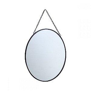 Espelho Redondo Suspenso com Alça Corrente - 24cm