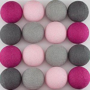 Cordão de Luz LED - Tons de Cinza e Pink (A pilha)
