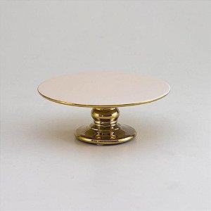 Boleira Luxo Dourada em Cerâmica - Pequena