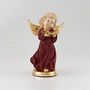 Anjo Querubim com Detalhes em Folhas de Ouro
